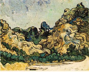 Vincent Van Gogh : Mountains at Saint-Remy with Dark Cottage