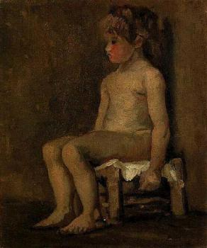 Vincent Van Gogh : Nude Study of a Little Girl, Seated