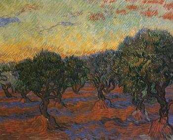 Vincent Van Gogh : Olive Grove, Orange Sky