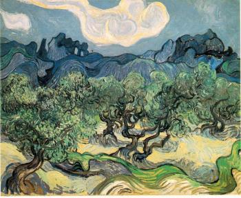 Vincent Van Gogh : Olive Trees with the Alpilles in the Background