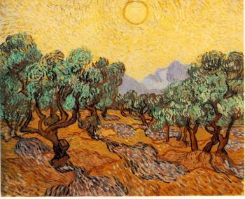 Vincent Van Gogh : Olive Trees with Yellow Sky and Sun