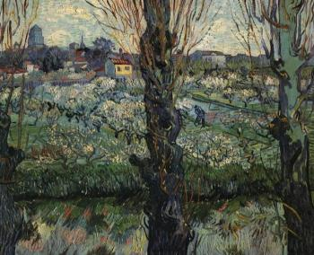 Vincent Van Gogh : Orchard in Bloom with View of Arles II