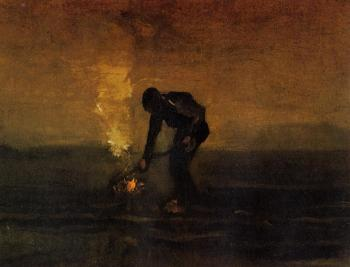 Vincent Van Gogh : Peasant Burning Weeds II