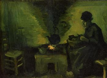 Vincent Van Gogh : Peasant Woman by the Fireplace