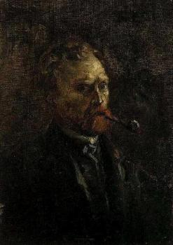 Vincent Van Gogh : Self Portrait with Pipe, II
