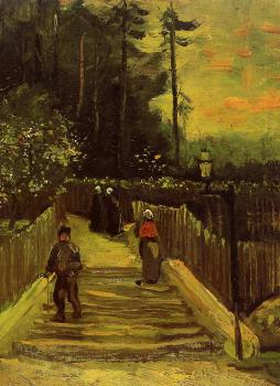 Vincent Van Gogh : Sloping Path in Montmartre