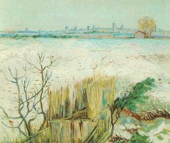 Vincent Van Gogh : Snowy Landscape with Arles in the Background