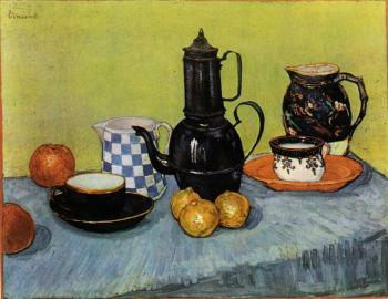 Vincent Van Gogh : Still Life, Blue Enamel Coffeepot, Earthenware and Fruit