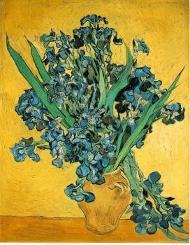 Vincent Van Gogh : Still Life, Vase with Irises Against a Yellow Background