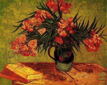 Vincent Van Gogh : Still Life, Vase with Oleanders and Books