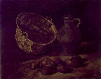 Vincent Van Gogh : Still Life with Copper Kettle, Jar and Potatoes