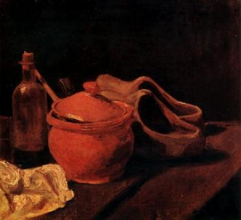Vincent Van Gogh : Still Life with Earthenware, Bottle and Clogs