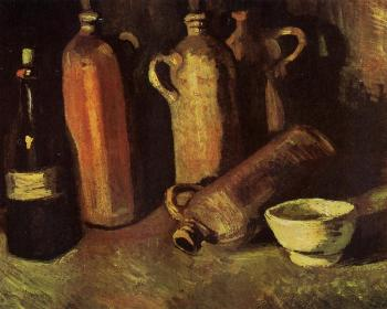 Vincent Van Gogh : Still Life with Four Stone Bottles, Flask and White Cup
