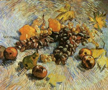 Vincent Van Gogh : Still Life with Grapes, Apples, Pears and Lemons