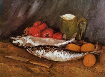Vincent Van Gogh : Still Life with Mackerels, Lemons and Tomatoes