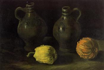 Vincent Van Gogh : Still Life with Two Jars and Two Pumpkins