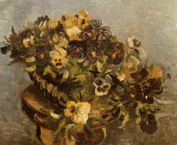 Vincent Van Gogh : Tambourine with Pansies