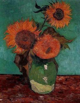 Vincent Van Gogh : Three Sunflowers in a Vase