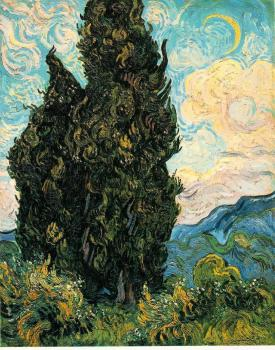 Vincent Van Gogh : Two Cypresses II