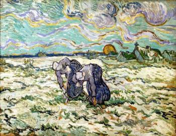 Vincent Van Gogh : Two Peasant Women Digging Field with Snow