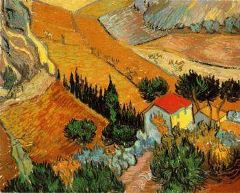 Vincent Van Gogh : Valley with Ploughman Seen from Above