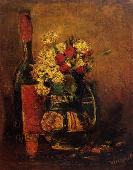 Vincent Van Gogh : Vase with Carnations and Roses and a Bottle
