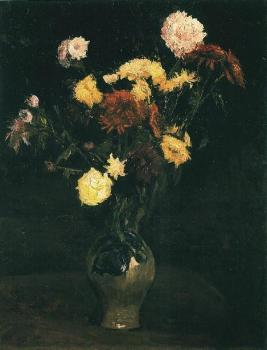 Vincent Van Gogh : Vase with Carnations and Zinnias