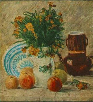 Vincent Van Gogh : Vase with Flowers, Coffeepot and Fruit