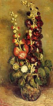 Vincent Van Gogh : Vase with Hollyhocks