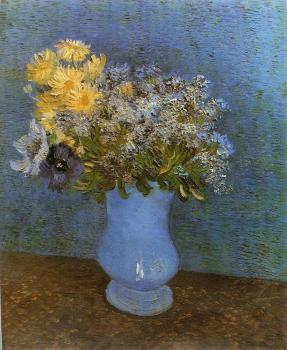 Vincent Van Gogh : Vase with Lilacs, Daisies and Anemomes