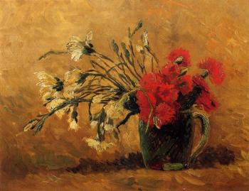 Vincent Van Gogh : Vase with Red and White Carnations on a Yellow Background