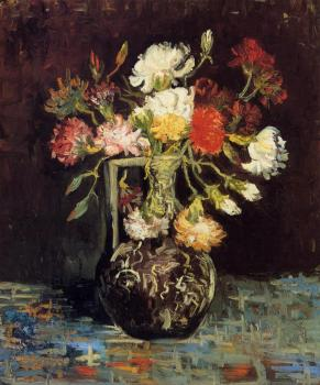 Vincent Van Gogh : Vase with White and Red Carnations