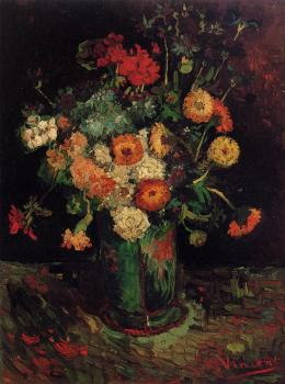 Vincent Van Gogh : Vase with Zinnias and Geraniums