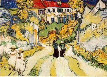 Vincent Van Gogh : Village Street and Stairs with Figures
