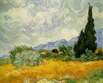 Vincent Van Gogh : Wheat Field with Cypresses II