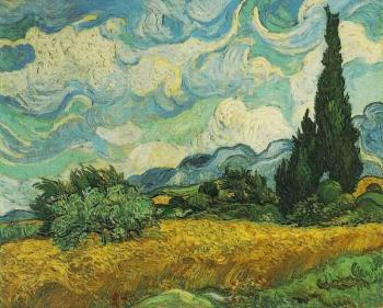 Vincent Van Gogh : Wheat Field with Cypresses at the Haute Gallinle Near Eygali