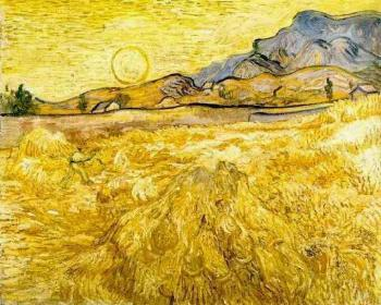 Vincent Van Gogh : Wheat Field with Reaper and Sun