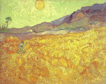 Vincent Van Gogh : Wheat Fields with Reaper at Sunrise II