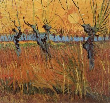 Vincent Van Gogh : Willows at Sunset