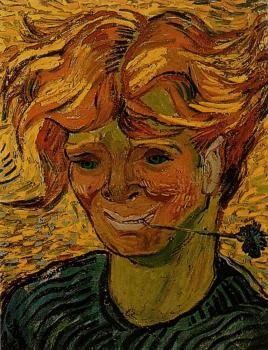 Vincent Van Gogh : Young Man with a Corflower