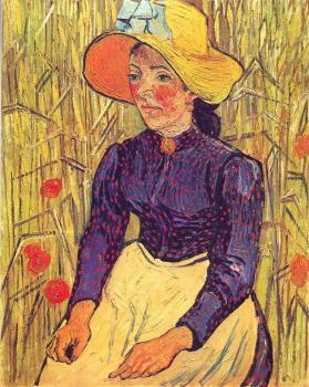 Vincent Van Gogh : Young Peasant Woman with Straw Hat Sitting in the Wheat