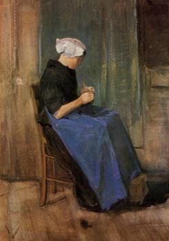 Vincent Van Gogh : Young Scheveningen Woman, Knitting