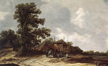 Jan Van Goyen : Farmyard with Haystack