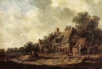 Jan Van Goyen : Peasant Huts with a Sweep Well