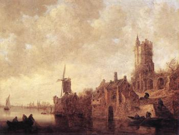 Jan Van Goyen : River Landscape with a Windmill and a Ruined Castle