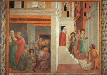 Benozzo Di Lese Di Sandro Gozzoli : Birth of St. Francis, Prophecy of the Birth by a Pilgrim, Homage of the Simple Man