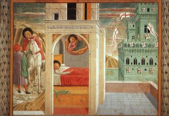 Benozzo Di Lese Di Sandro Gozzoli : St. Francis Giving Away His Clothes, Vision of the Church Militant and Triumphant