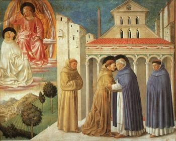 Benozzo Di Lese Di Sandro Gozzoli : Vision of St. Dominic and Meeting of St. Francis and St. Dominic