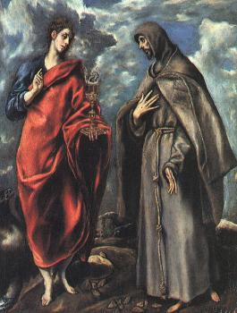 El Greco : Saints John the Evangelist and Francis