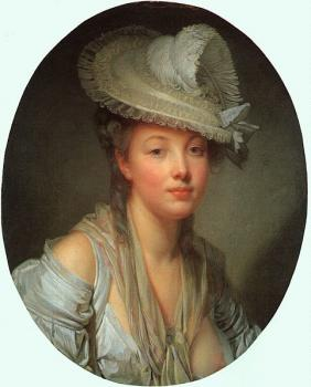 Jean-Baptiste Greuze : Young Woman in a White Hat